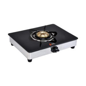 Suraksha Shine Crystal Single Tri-Pin Brass Burner Cooktop Glass With Stainless Steel Gas Stove