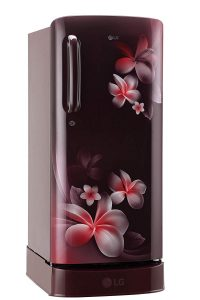 LG 190 L 4 Star Direct Cool Single Door Refrigerator(GL-D201ASPX.ASPZEBN, Scarlet Plumeria, Base Stand with Drawer, Smart Inverter Compressor)