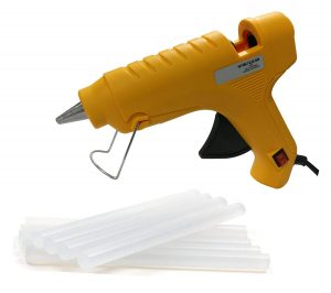 GLUN oz 40W Hot Melt Glue Gun with on Off Switch (Yellow Gun with 8 Sticks)